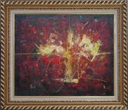 Yellow Bouquet in Red Background Oil Painting Flower Impressionism Exquisite Gold Wood Frame 26 x 30 inches