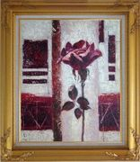 Purple Rose Flower Oil Painting Modern Gold Wood Frame with Deco Corners 31 x 27 inches