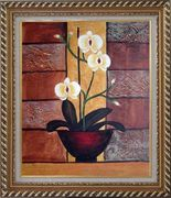Light Yellow Orchid in Pleasant Background Oil Painting Flower Decorative Exquisite Gold Wood Frame 30 x 26 inches