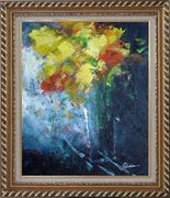 Yellow Bouquet in Blue Vase and Blue Background Oil Painting Flower Impressionism Exquisite Gold Wood Frame 30 x 26 inches