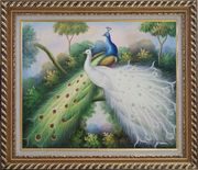 Peacocks with Bright Colorful Feathers Oil Painting Animal Naturalism Exquisite Gold Wood Frame 26 x 30 inches