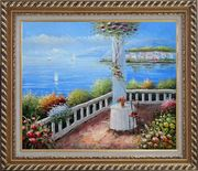 Mediterranean Retreat with Infinity Views Oil Painting Naturalism Exquisite Gold Wood Frame 26 x 30 inches