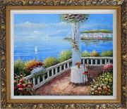 Mediterranean Retreat with Infinity Views Oil Painting Naturalism Ornate Antique Dark Gold Wood Frame 26 x 30 inches