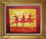 Three Female Dancers Oil Painting Portraits Woman Modern Gold Wood Frame with Deco Corners 27 x 31 inches