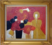 Woman Singing Oil Painting Portraits Modern Gold Wood Frame with Deco Corners 27 x 31 inches