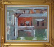 Water Village in Quiet Afernoon Oil Painting Cityscape Impressionism Gold Wood Frame with Deco Corners 27 x 31 inches