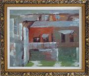Water Village in Quiet Afernoon Oil Painting Cityscape Impressionism Ornate Antique Dark Gold Wood Frame 26 x 30 inches