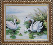 Swan Family on Waterlily Pond Oil Painting Animal Naturalism Exquisite Gold Wood Frame 26 x 30 inches
