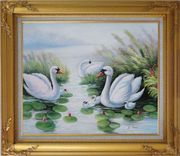 Swan Family on Waterlily Pond Oil Painting Animal Naturalism Gold Wood Frame with Deco Corners 27 x 31 inches