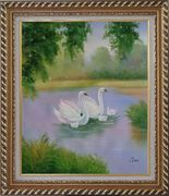 White Swans in Beautiful Lake Oil Painting Animal Classic Exquisite Gold Wood Frame 30 x 26 inches