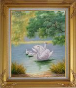 White Swan Family in Beautiful Lake Oil Painting Animal Classic Gold Wood Frame with Deco Corners 31 x 27 inches