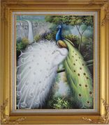 Colorful Peacocks Staying in a Tree with Waterfall Oil Painting Animal Naturalism Gold Wood Frame with Deco Corners 31 x 27 inches