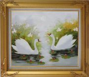 Pair of Swans Enjoys Happy Time in Beautiful Lily Pond Oil Painting Animal Naturalism Gold Wood Frame with Deco Corners 27 x 31 inches