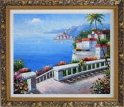 Mediterranean Colorful Garden Oil Painting Naturalism Ornate Antique Dark Gold Wood Frame 26 x 30 inches