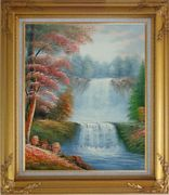 Two Spectacular Waterfalls in Forest Oil Painting Landscape Naturalism Gold Wood Frame with Deco Corners 31 x 27 inches