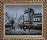 Paris Street with Eiffel Tower in Black and White Oil Painting Cityscape Impressionism Exquisite Gold Wood Frame 26 x 30 inches
