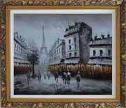 Paris Street with Eiffel Tower in Black and White Oil Painting Cityscape Impressionism Ornate Antique Dark Gold Wood Frame 26 x 30 inches