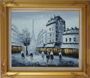 Paris Street to Eiffel Tower in Black, White and Yellow Oil Painting Cityscape Impressionism Gold Wood Frame with Deco Corners 27 x 31 inches