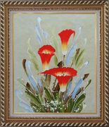 Scarlet Calla Lily Oil Painting Flower Decorative Exquisite Gold Wood Frame 30 x 26 inches