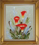 Scarlet Calla Lily Oil Painting Flower Decorative Gold Wood Frame with Deco Corners 31 x 27 inches