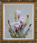 Joyful Pink Calla Lily Oil Painting Flower Decorative Ornate Antique Dark Gold Wood Frame 30 x 26 inches