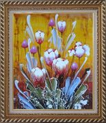 Beautiful Blooming Tulips Oil Painting Flower Decorative Exquisite Gold Wood Frame 30 x 26 inches