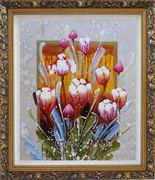 Decorative Colorful Tulips Oil Painting Flower  Ornate Antique Dark Gold Wood Frame 30 x 26 inches