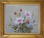 Light Purple Flowers Oil Painting Tulip Decorative Gold Wood Frame with Deco Corners 27 x 31 inches