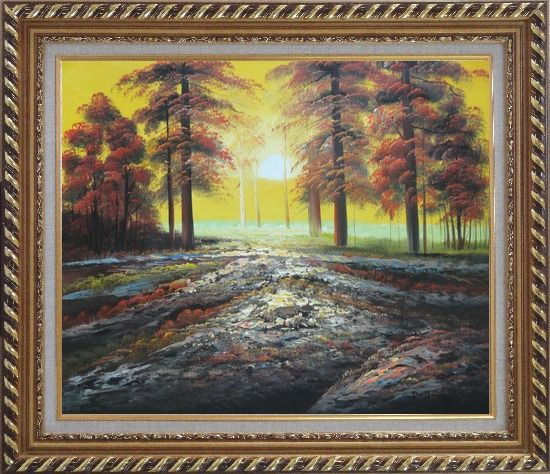 Framed Alpine Trees with Sunshine Oil Painting Landscape Naturalism Exquisite Gold Wood Frame 26 x 30 Inches