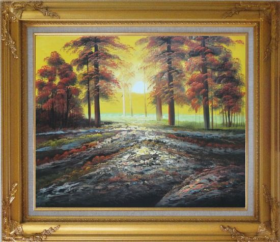 Framed Alpine Trees with Sunshine Oil Painting Landscape Naturalism Gold Wood Frame with Deco Corners 27 x 31 Inches