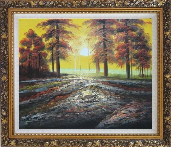 Framed Alpine Trees with Sunshine Oil Painting Landscape Naturalism Ornate Antique Dark Gold Wood Frame 26 x 30 Inches