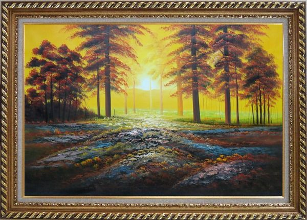 Framed Alpine Trees with Sunshine Oil Painting Landscape Naturalism Exquisite Gold Wood Frame 30 x 42 Inches