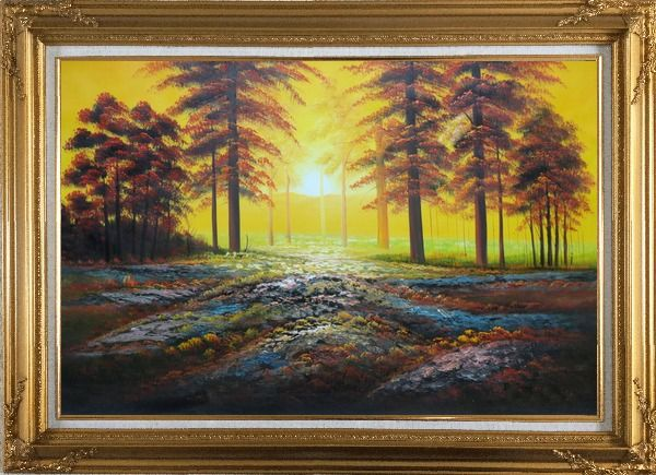 Framed Alpine Trees with Sunshine Oil Painting Landscape Naturalism Gold Wood Frame with Deco Corners 31 x 43 Inches