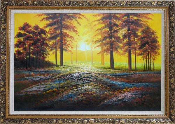 Framed Alpine Trees with Sunshine Oil Painting Landscape Naturalism Ornate Antique Dark Gold Wood Frame 30 x 42 Inches