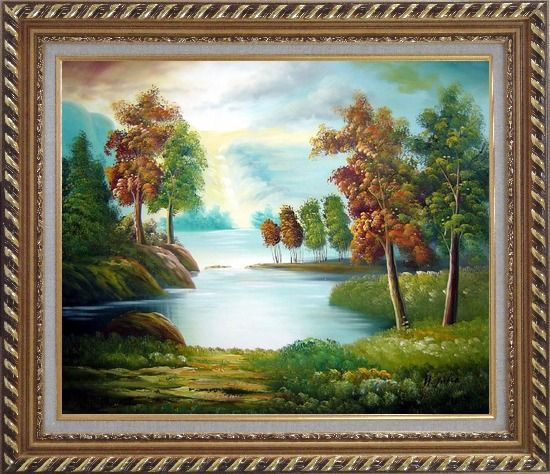 Framed Peaceful Lake View in Spring Oil Painting Landscape River Naturalism Exquisite Gold Wood Frame 26 x 30 Inches