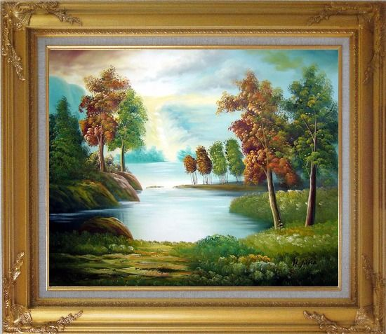 Framed Peaceful Lake View in Spring Oil Painting Landscape River Naturalism Gold Wood Frame with Deco Corners 27 x 31 Inches