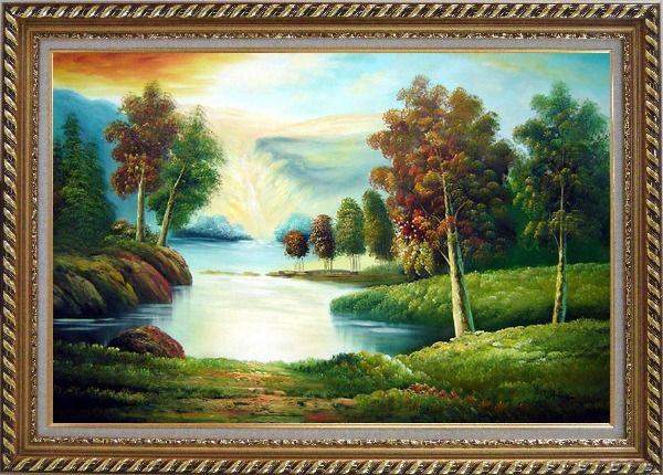 Framed Peaceful Lake View in Spring Oil Painting Landscape River Naturalism Exquisite Gold Wood Frame 30 x 42 Inches