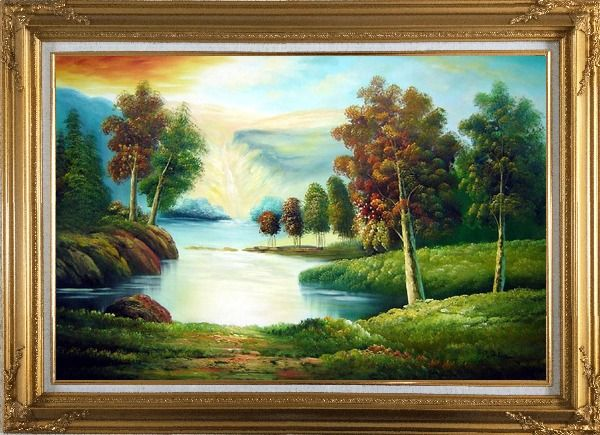 Framed Peaceful Lake View in Spring Oil Painting Landscape River Naturalism Gold Wood Frame with Deco Corners 31 x 43 Inches