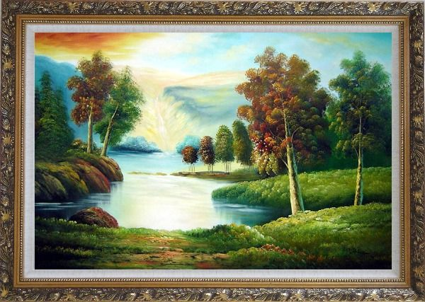 Framed Peaceful Lake View in Spring Oil Painting Landscape River Naturalism Ornate Antique Dark Gold Wood Frame 30 x 42 Inches
