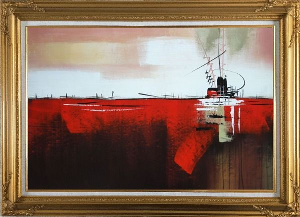 Framed Ship in Red Ocean Oil Painting Boat Decorative Gold Wood Frame with Deco Corners 31 x 43 Inches