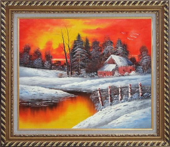 Framed A Snow Coverd Cottage in Winter Forest at Christmas Sunset Oil Painting Landscape River Naturalism Exquisite Gold Wood Frame 26 x 30 Inches