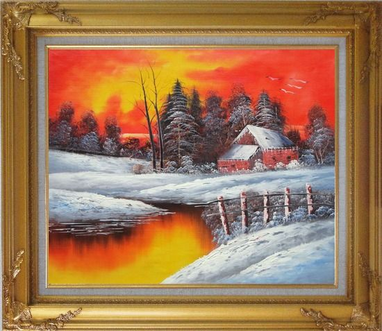 Framed A Snow Coverd Cottage in Winter Forest at Christmas Sunset Oil Painting Landscape River Naturalism Gold Wood Frame with Deco Corners 27 x 31 Inches