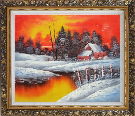 Framed A Snow Coverd Cottage in Winter Forest at Christmas Sunset Oil Painting Landscape River Naturalism Ornate Antique Dark Gold Wood Frame 26 x 30 Inches