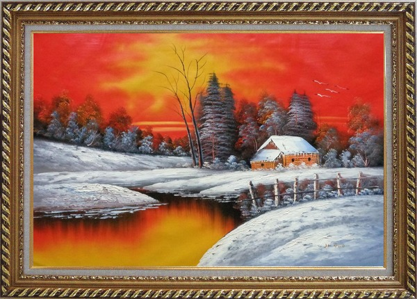 Framed A Snow Coverd Cottage in Winter Forest at Christmas Sunset Oil Painting Landscape River Naturalism Exquisite Gold Wood Frame 30 x 42 Inches