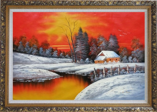 Framed A Snow Coverd Cottage in Winter Forest at Christmas Sunset Oil Painting Landscape River Naturalism Ornate Antique Dark Gold Wood Frame 30 x 42 Inches