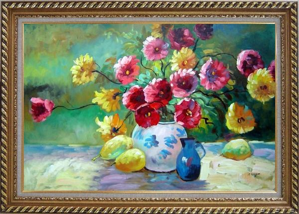 Framed Delightful Colorful Chrysanthemums in Vase under Sunshine Oil Painting Flower Still Life Bouquet Naturalism Exquisite Gold Wood Frame 30 x 42 Inches