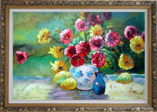 Framed Delightful Colorful Chrysanthemums in Vase under Sunshine Oil Painting Flower Still Life Bouquet Naturalism Ornate Antique Dark Gold Wood Frame 30 x 42 Inches
