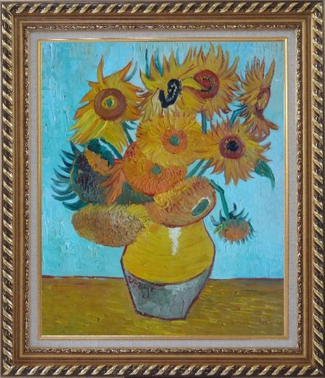 Framed Sunflowers, Van Gogh Masterpieces Reproduction Oil Painting Still Life Post Impressionism Exquisite Gold Wood Frame 30 x 26 Inches