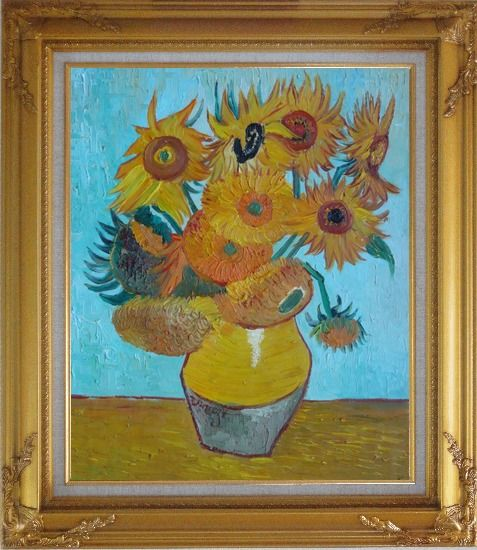 Framed Sunflowers, Van Gogh Masterpieces Reproduction Oil Painting Still Life Post Impressionism Gold Wood Frame with Deco Corners 31 x 27 Inches