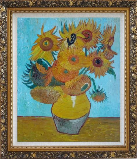 Framed Sunflowers, Van Gogh Masterpieces Reproduction Oil Painting Still Life Post Impressionism Ornate Antique Dark Gold Wood Frame 30 x 26 Inches